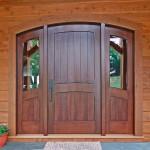 custom entry door on timber frame