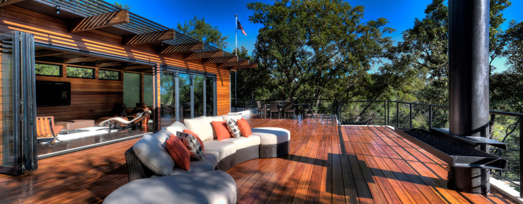 spacious-terrace-deck-with-wooden-timber-floor-and-modern-rattan-sofa-with-edgy-orange-also-polka-dot-cushions-and-floating-fire-pit-ideas-102